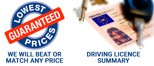 Lowest Price & Driving Licence Summary